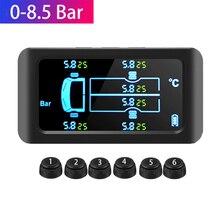 Monitor de presión de neumáticos TPMS Universal con 6 sensores externos, 8,5 Bar, carga Solar, Sensor de presión de neumáticos TMPS
