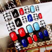 24Pcs Women Fake Nails Beauty Nail Art Sticker Tips False Nails DIY Manicure Kit Finished Nails Tools Easy To Use