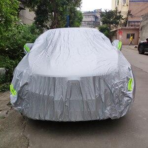 Image 5 - JIUWAN 유니버설 SUV 자동차 커버 태양 먼지 UV 보호 야외 자동 전체 커버 SUV 세단에 대 한 우산 실버 반사 스트라이프