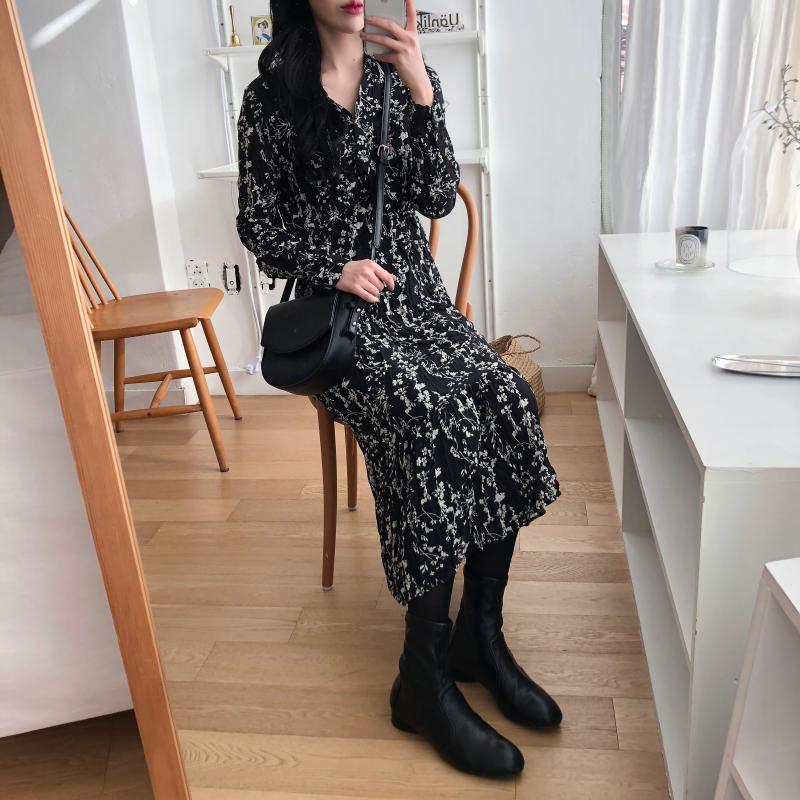 H7c9d54c8fa114b4faef3c25b3a9895f1Z - Autumn Korean V-Neck Long Sleeves Chiffon Floral Print Midi Dress