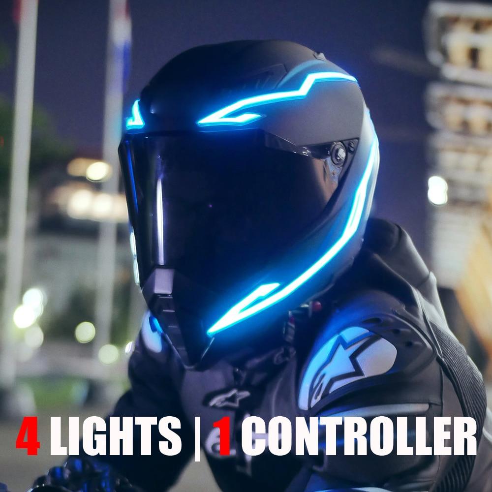 4PCS Motorcycle LED Night Light Riding Signal Helmet EL Cold Light 4 Mode Bike Helmet Led Lights Strip Kit Bar For Decoration