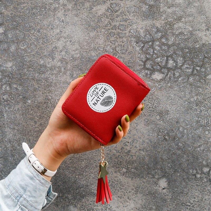 Cartoon Print Simple Small Wallet Zipper Short Coin Purse Mini Money Bag Red Cute Women Wallets Small Walets For Ladies Portfel