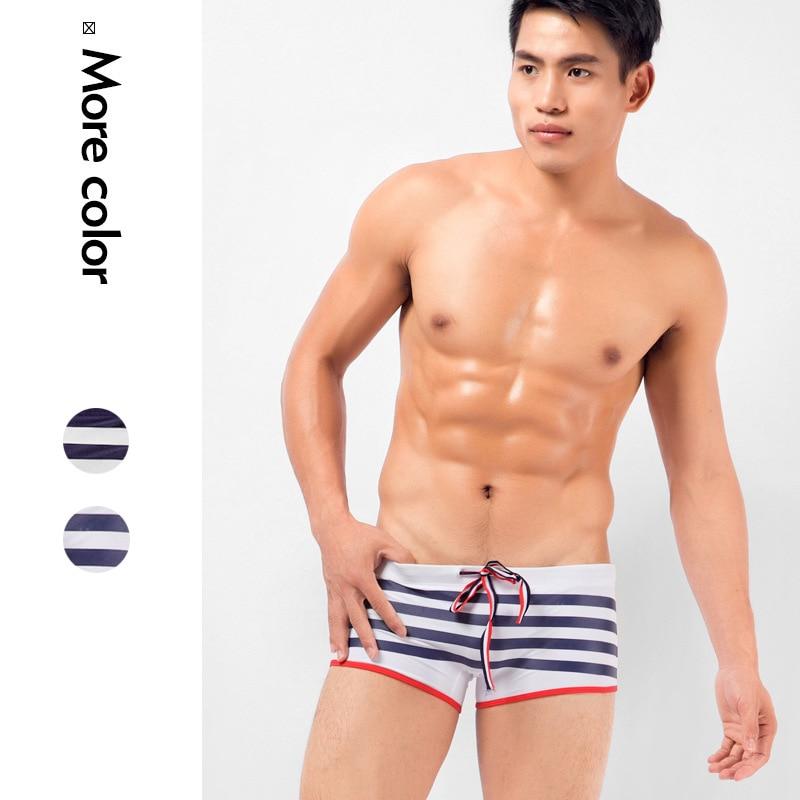 Men's Swim Trunks Boxer Striped Swimming Shorts Swimsuit maillot de bain New Male Swimwear Surf Shorts Elasticity Sport Shorts