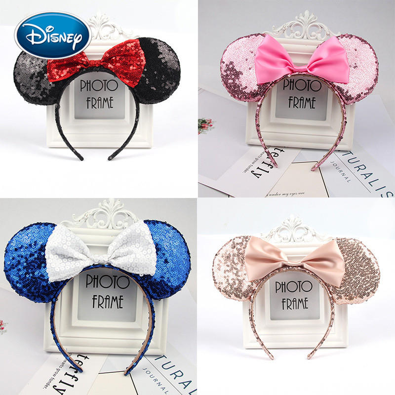 Disney Cute Girl Headwear Minnie Mickey Ears Sequin Headband Hair Accessories Hairband Christmas  Hair Bows For Girls Women Gift