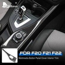 Hava hızı LHD BMW 1 2 serisi F20 F21 F22 aksesuarları gerçek karbon Fiber Sticker araba multimedya düğmesi paneli kapak iç Trim
