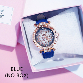 Casual Women Romantic Starry Sky Wrist Watch bracelet Leather Rhinestone Designer Ladies Clock Simple Dress Gfit Montre Femm - Blue