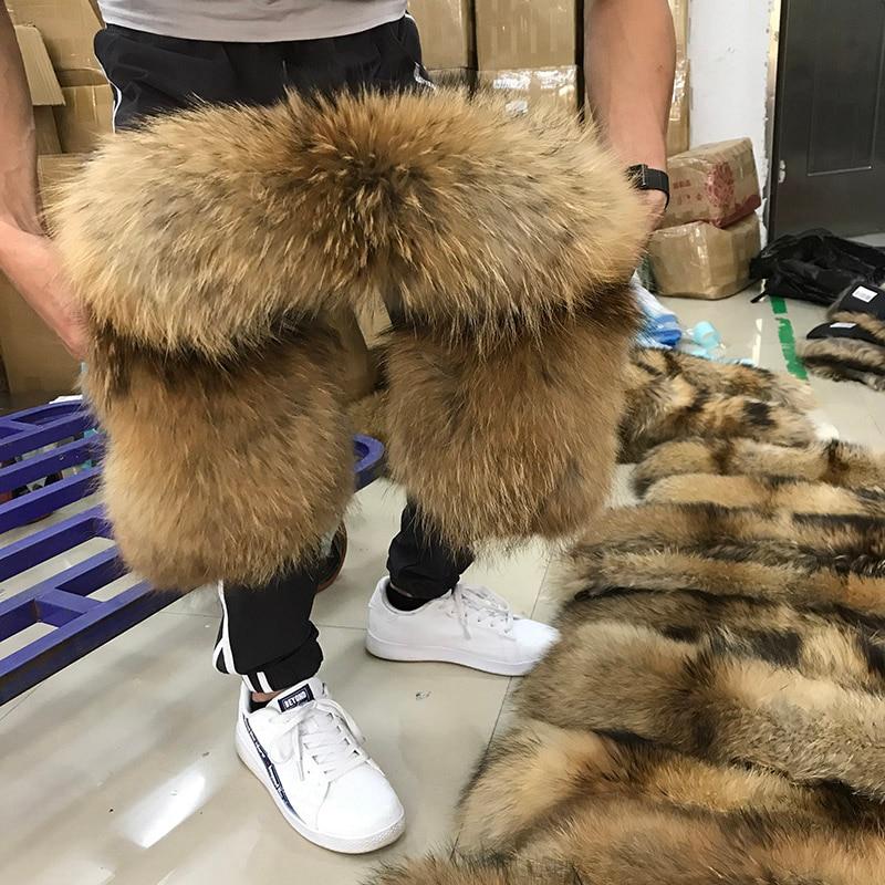 Натуральный меховой воротник, Зимний натуральный мех енота, женские шарфы, пальто, шарфы, роскошная Мужская парка, женская теплая 60 см, 70 см, 80 см,#2