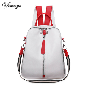 где купить Vfemage High Quality Bag for Women Backpacks Female Small Leather Backpack Girls Schoolbag Mutifunction Ladies Shoulder Bag 2019 недорого