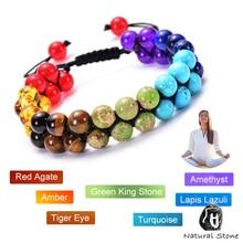 8Mm Vrouwen Mannen Natuursteen 7 Chakra Armband Healing Balans Kralen 2 Lagen Reiki Gebed Yoga Buddha Bangle Armband sieraden