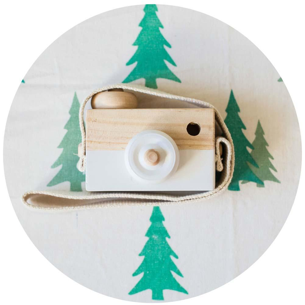 Kids Baby Wooden Toy Camera Minimalist Simulation Camera Christmas Gift White