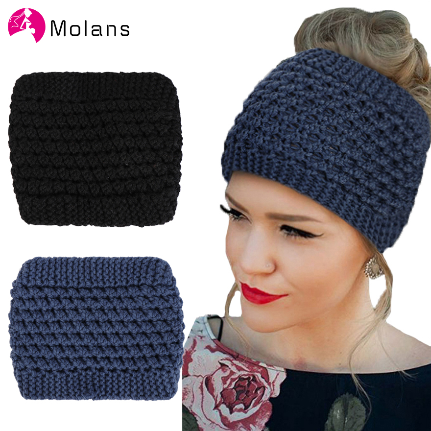Molans Turban Hat Woven Twisted Headbands Solid Handmade Knitting Elastic Women Hairbands Ear Protected Warm Winter Headband