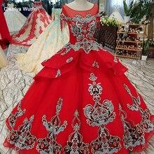 LS61187 vestido de noche largo hasta el suelo cuello redondo manga corta vintage vestido de fiesta de boda rojo vestido de fiesta de china gala jurken