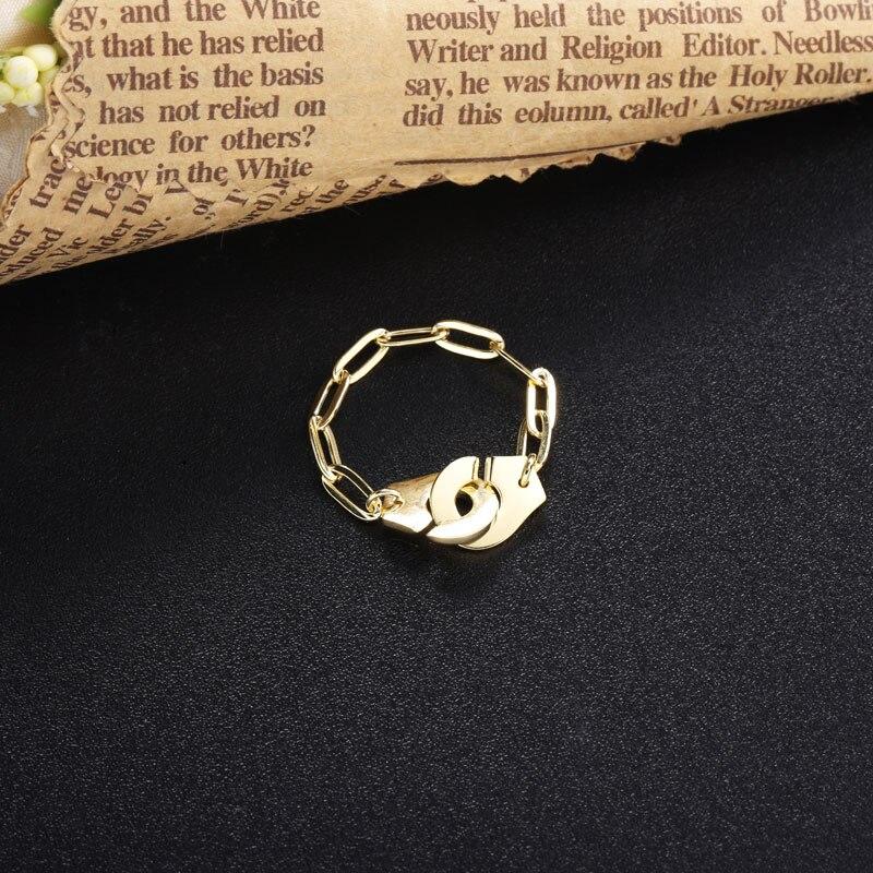 Moonmory 925 en argent Sterling Menottes anneau blanc trombone chaîne mode rencontres bijoux Couple anneaux cadeaux de noël Menottes 4
