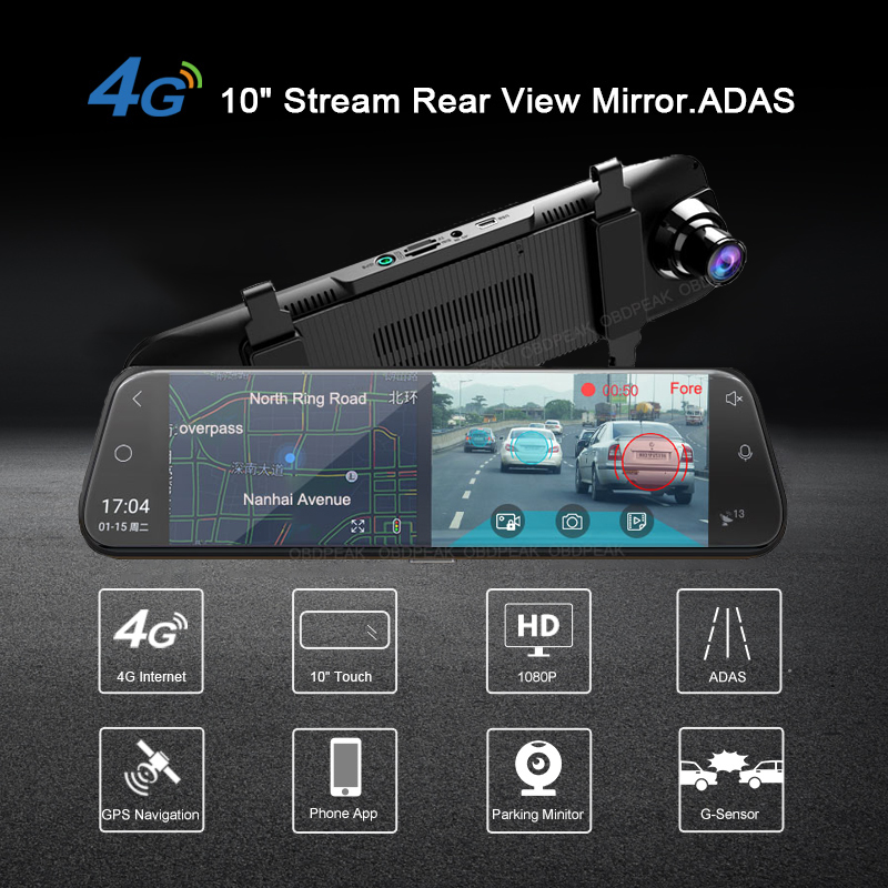 "Image 2 - A980 4G Android 8.1 ADAS 10"" Stream Rear View Mirror Dash Cam Camera Car Camera Recorder Dvr Dashcam GPS Navigation 1080P WIFI-in Car Mirror Video from Automobiles & Motorcycles"