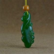 Натуральный китайский нефритовый зеленый ручная резная Пряжка