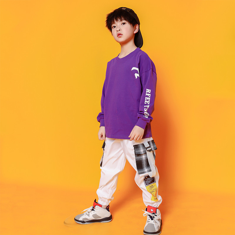 Boys Hip Hop Costumes Purple Shirts Fashion Ballroom Dance Costume Girls Jazz Clothes Set Loose Pants Dancewear for Children (3)