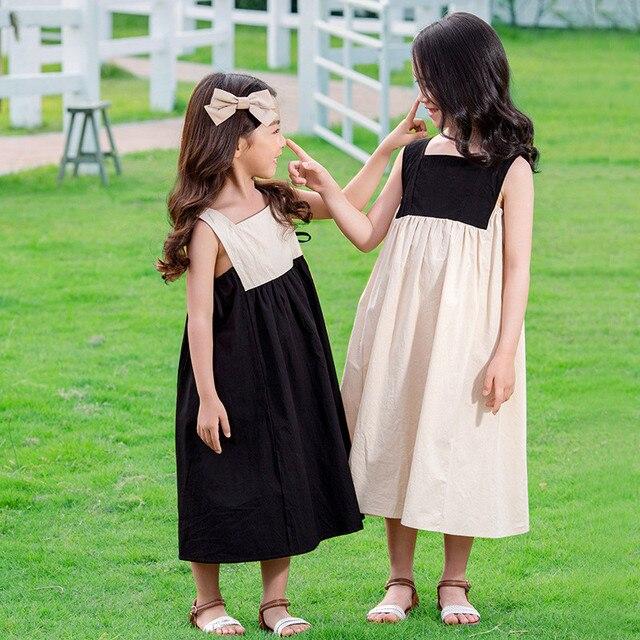 4 a 14 anni i bambini e adolescente ragazze di estate blocchetto di colore del cotone casual flare midi del vestito della ragazza senza maniche piazza del collare vestito dalla maglia 4
