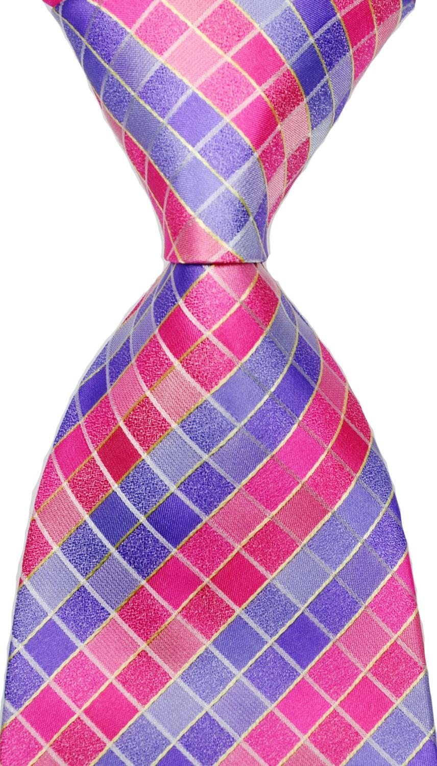 New Classic Checks Blue Black JACQUARD WOVEN 100/% Silk Men/'s Tie Necktie