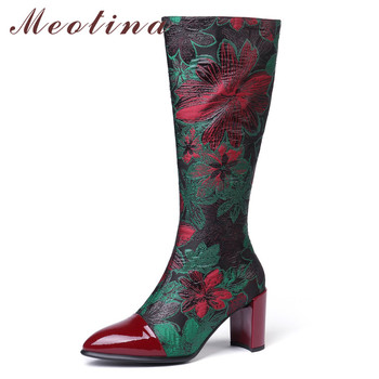 Meotina Winter Knee High Boots Women Natural Genuine Leather Zip Thick High Heel Long Boots Flower Pointed Toe Shoes Lady 34-43
