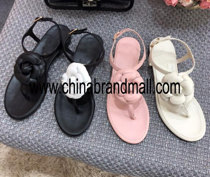 Summer Newest Woman leather Flower <font><b>Flat</b></font> <font><b>Sandals</b></font> <font><b>Sexy</b></font> Thong <font><b>Sandals</b></font> Beach Wearing Casual <font><b>Flat</b></font> Shoe Pink Black White image