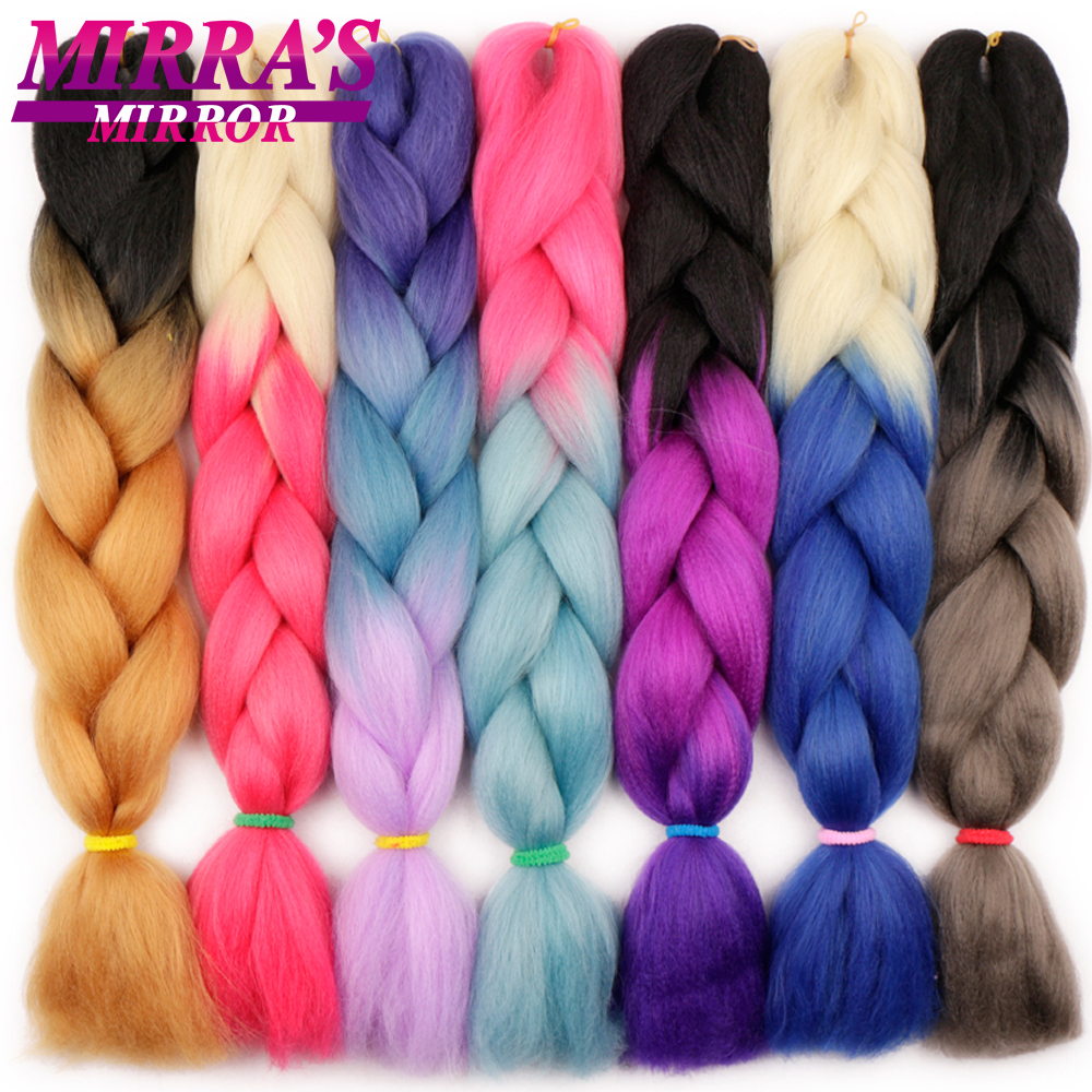 Mirra's Mirror 24inch Jumbo Hair For Braid Ombre Braiding Hair Extensions Synthetic Crochet Hair Blonde Pink Golden