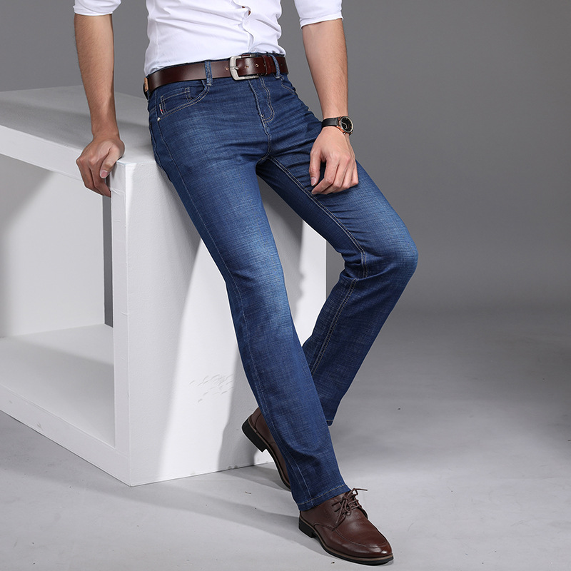2019 Four Seasons Paragraph Business Elasticity Jeans Men's Slim Fit Washing Water High-waisted Middle-aged Loose-Fit Dad Pants