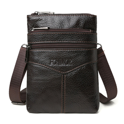 Genuine Leather Men's Crossbody Bags Cell Phone Messenger Bag Men Vintage Small Leather Travel Cigarette Cross Body Money Bags