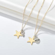 Romantic Moon Star Key Lock Necklace Pendant Set For Women Couple Necklaces Colar Statement Jewelry Unisex Jewelry Accessories(China)