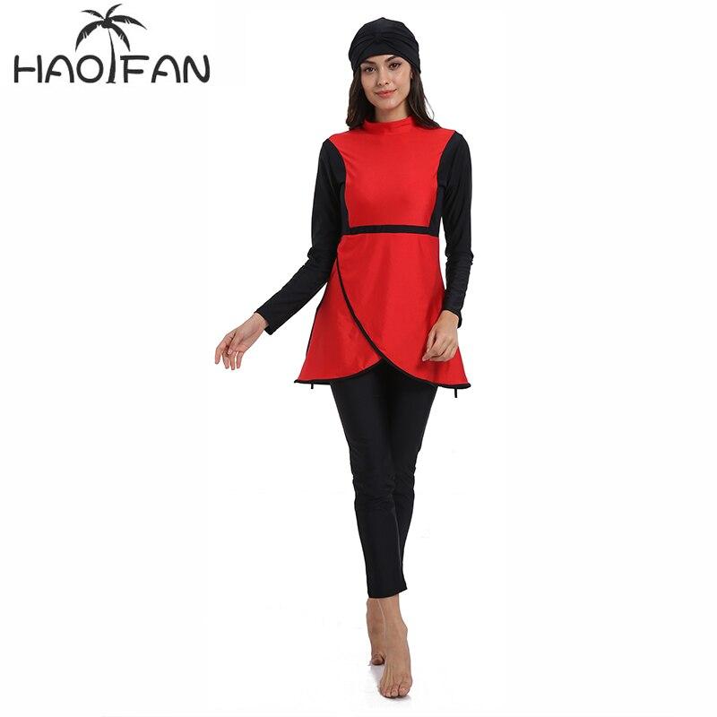 HAOFAN Muslim swimwear Women Middle East Islamic Traditional  Hijab Full Cover Burkinis Red Swimsuit Bathing Suit For Lady 4XLMuslim  Swimwear