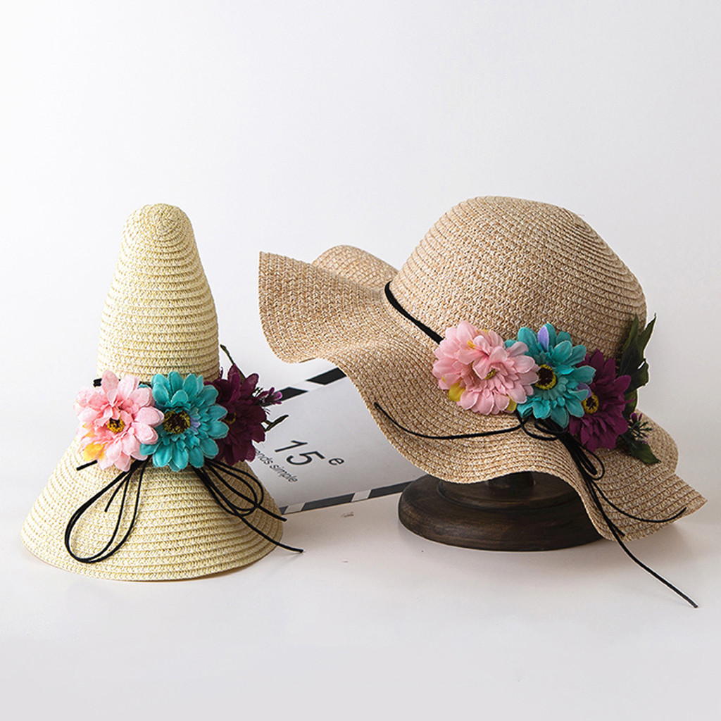 Summer Fashion Baby Fleur Respirant Chapeau De Paille Soleil Plage Kids Cap filles taille 2-6 ans