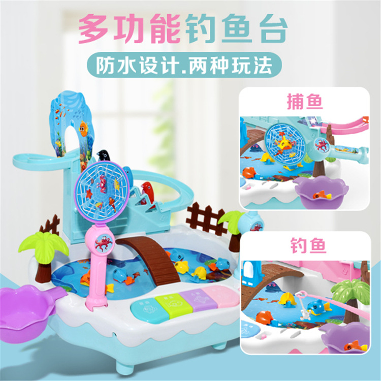 New Style Children Penguin Climbing Stairs Magnetic Fishing-in-USB Power Supply Fishing Plate Electric Educational Toy