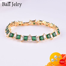 BaliJelry Bracelet Silver 925 Jewelry for Women Geometric Emerald Zircon Gemstone Bracelet Wedding Engagement Trendy Accessories