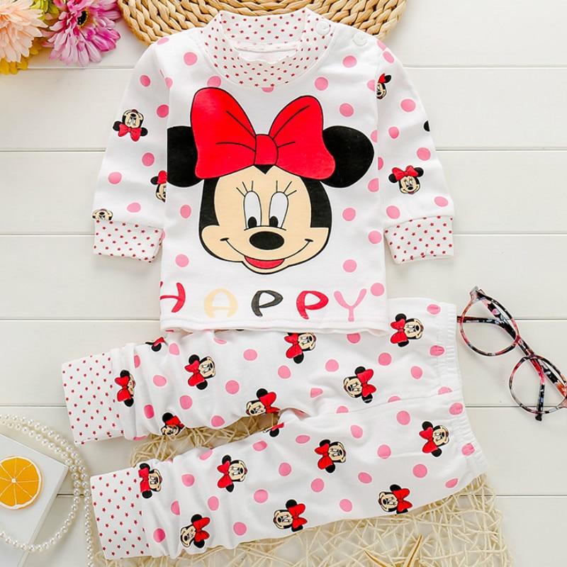 Bebek giyim setleri sonbahar bebek kız giysileri bebek pamuk kız elbise Tops + pantolon 2 adet iç çamaşırı kıyafetler çocuk giysileri Se 0-24M