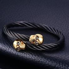 Punk Gothic Stainless Steel Double Skulls Cuff Bangle Biker Cool Hip Hop Rock Open Bangles Bracelets Men Punk Jewelry цена