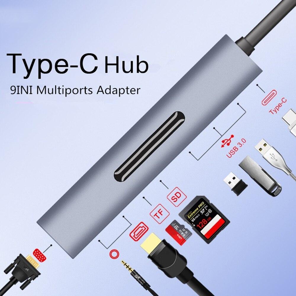 Thunderbolt 3 Dock USB Type C To HDMI 4K VGA HUB Adapter For MacBook Samsung Dex Galaxy S10/S9 USB-C Converter Thunderbolt HDMI
