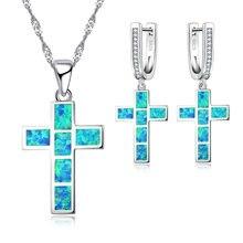 Fdlk красивый синий имитация опала Крест Ювелирные наборы для