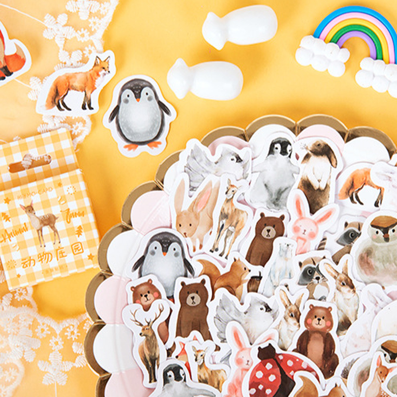 46pcs/pack Kawaii Animal Manor Stickers Diary Scrapbooking sticker Albums Phone Photo Deco stickers Childrens Sticker image
