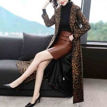 Women #8217 s trench coat leopard coat women 2020 Trench coat autumn and winter new fashion over the knee long Women trench coat JK60 cheap BHIGJYT Full Broadcloth Office Lady COTTON Polyester Acetate Button Pockets Ages 18-35 Years Old Turn-down Collar Single Breasted