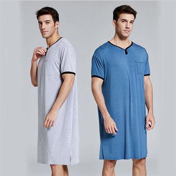 Men Sleep Robes Short Sleeve Solid Pajamas Pockets Cozy Cotton Vintage Homewear Nightgown Mens Bathrobes