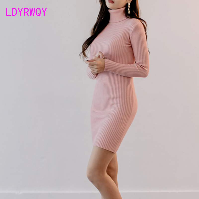 2019 new women's Korean version of the high collar waist was thin bag hip bottom knit dress