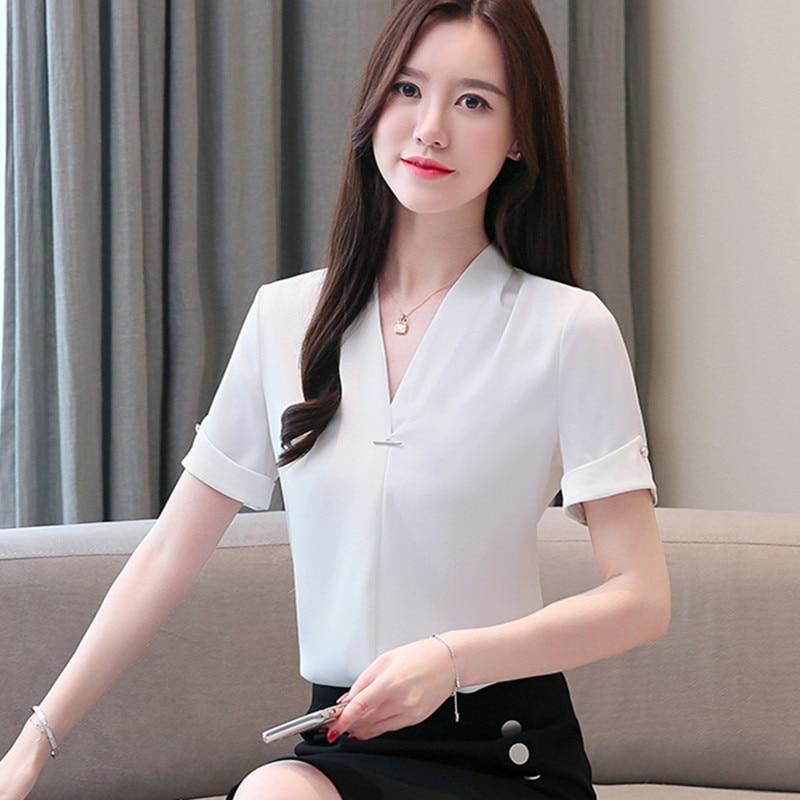 Korean Chiffon Blouses Women Solid V Neck Shirts Tops Plus Size Women White Shirt Blusas Mujer De Moda Blusas Femininas Elegante