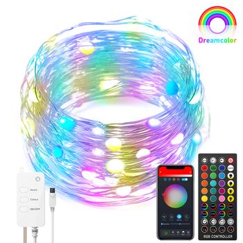 RGB bajki łańcuchy świetlne USB WIFI Bluetooth zdalnego sterowania boże narodzenie dekoracji 10M światła miedzi girlanda żarówkowa LED łańcuchy świetlne tanie i dobre opinie oobest CN (pochodzenie) 3 months Z tworzywa sztucznego Brak Akumulator 30 m 101-150 głowy