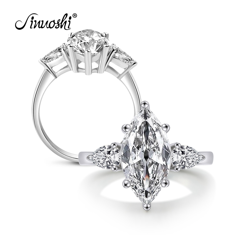 Victoria Wieck nagykereskedelem Három köves gyűrű Marquise Cut Sona 925 ezüst ezüst esküvői együttes gyűrű Sz 4-10 ajándék