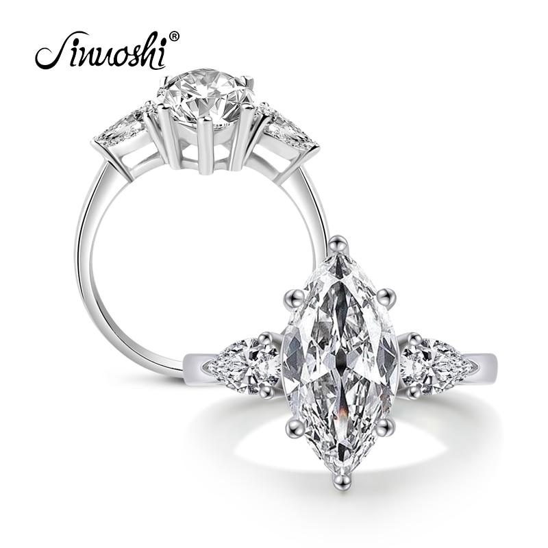 Victoria Wieck veleprodaja tri prstena s prstenima Marquise cut Sona 925 Sterling Silver Vjenčani prsten Sz 4-10 poklon