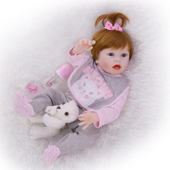 real vinyl Silicone body about 55cm bebe girl Reborn Baby Dolls Unique hand-painted mouth Kid alive Simulation Boneca toy Gift