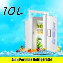 10l mini geladeira auto refrigerador portátil refrigerador aquecedor pequeno freezer carro casa daul-use branco verão armazenamento icebox com alça