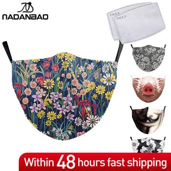 NADANBAO Fashion 3D Print Mask Adult Washable Fabric Face Masks Reusable PM2.5 Protective Face Cover Cosplay Masks Outdoor