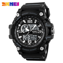 SKMEI 新 S ショックメンズスポーツ腕時計ビッグダイヤルクォーツデジタル腕時計男性用高級ブランド LED 軍事防水男性腕時計