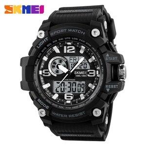 Image 1 - SKMEI חדש S הלם גברים ספורט שעונים גדולים חיוג קוורץ דיגיטלי שעונים לגברים יוקרה מותג LED צבאי עמיד למים גברים שעוני יד
