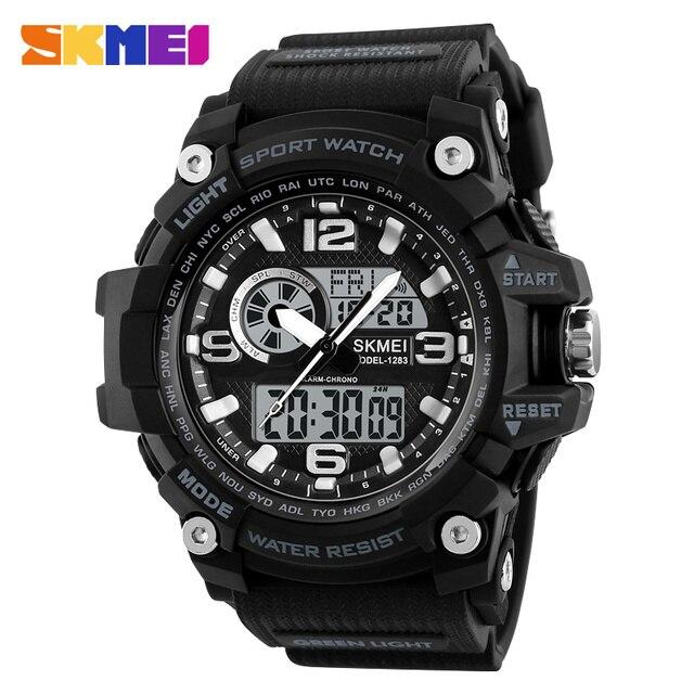 SKMEI חדש S הלם גברים ספורט שעונים גדולים חיוג קוורץ דיגיטלי שעונים לגברים יוקרה מותג LED צבאי עמיד למים גברים שעוני יד